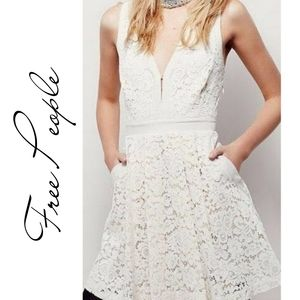 FP FREE PEOPLE Ivory Fit and Flare Lace Dress